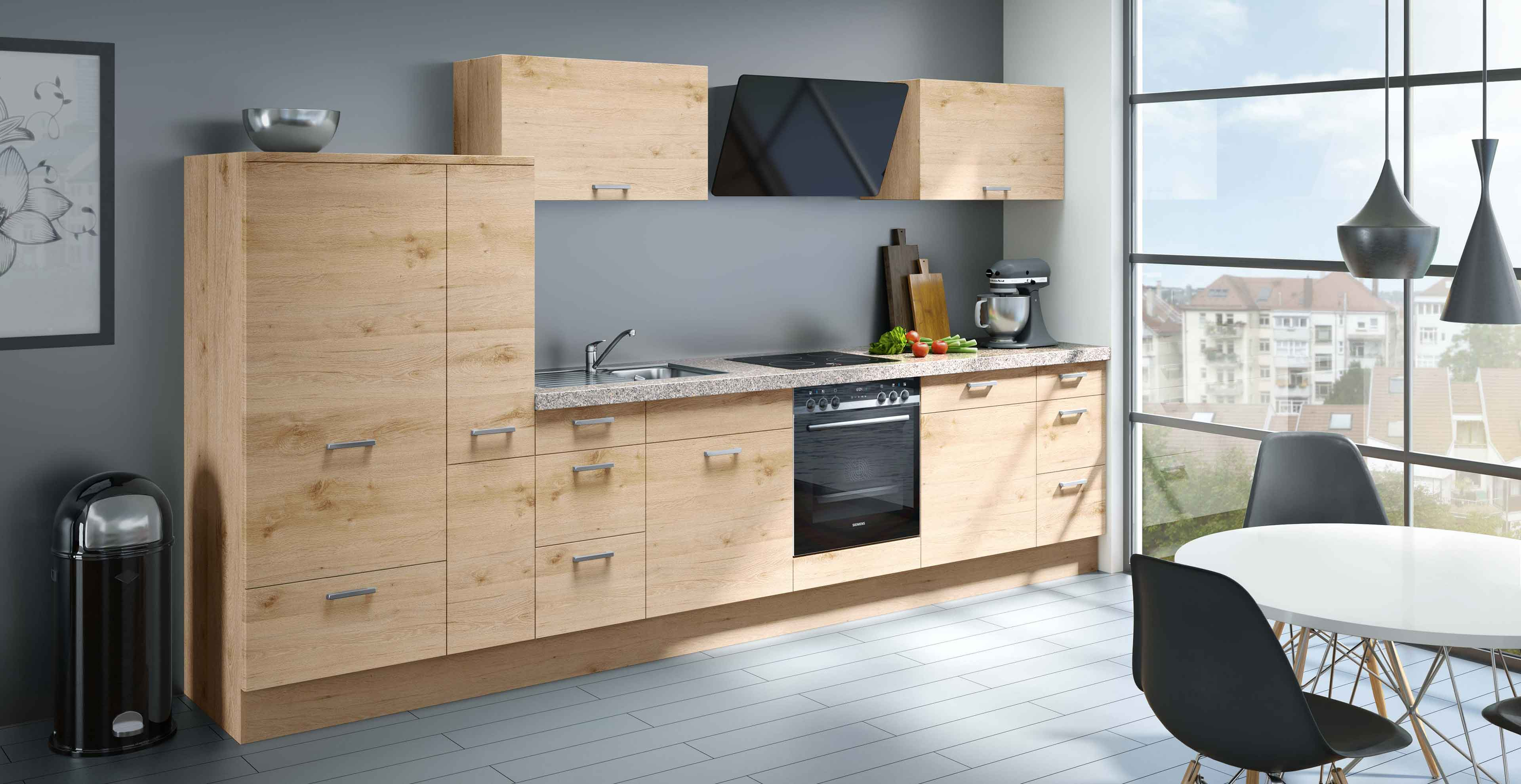Klassische Küche mit Holzoptik und Rosa Beta Granit - Marquardt Küchen